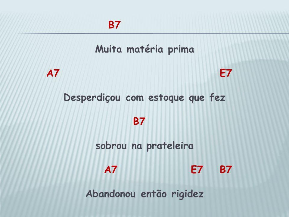 B7 Muita matéria prima A7 E7 Desperdiçou com estoque que fez B7 sobrou na prateleira A7E7B7 Abandonou então rigidez