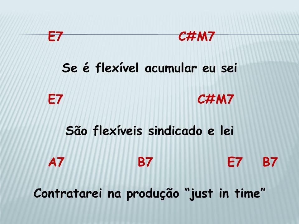 E7 C#M7 Se é flexível acumular eu sei E7C#M7 São flexíveis sindicado e lei A7B7E7 B7 Contratarei na produção just in time