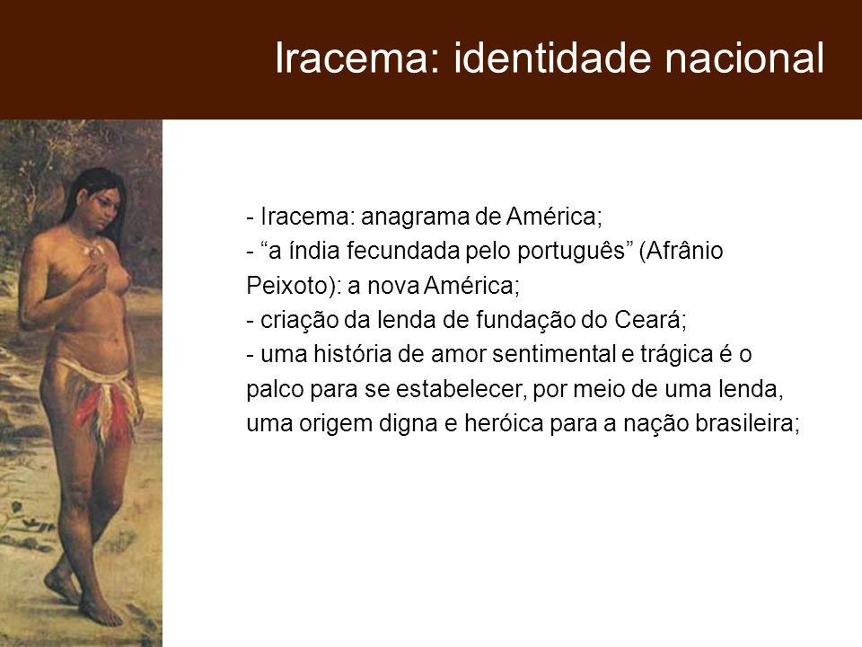 - Iracema: anagrama de América; - a índia fecundada pelo português (Afrânio Peixoto): a nova América; - criação da lenda de fundação do Ceará; - uma h
