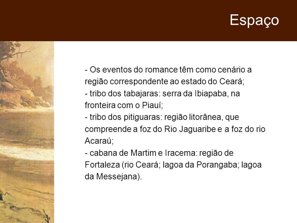 - Os eventos do romance têm como cenário a região correspondente ao estado do Ceará; - tribo dos tabajaras: serra da Ibiapaba, na fronteira com o Piau