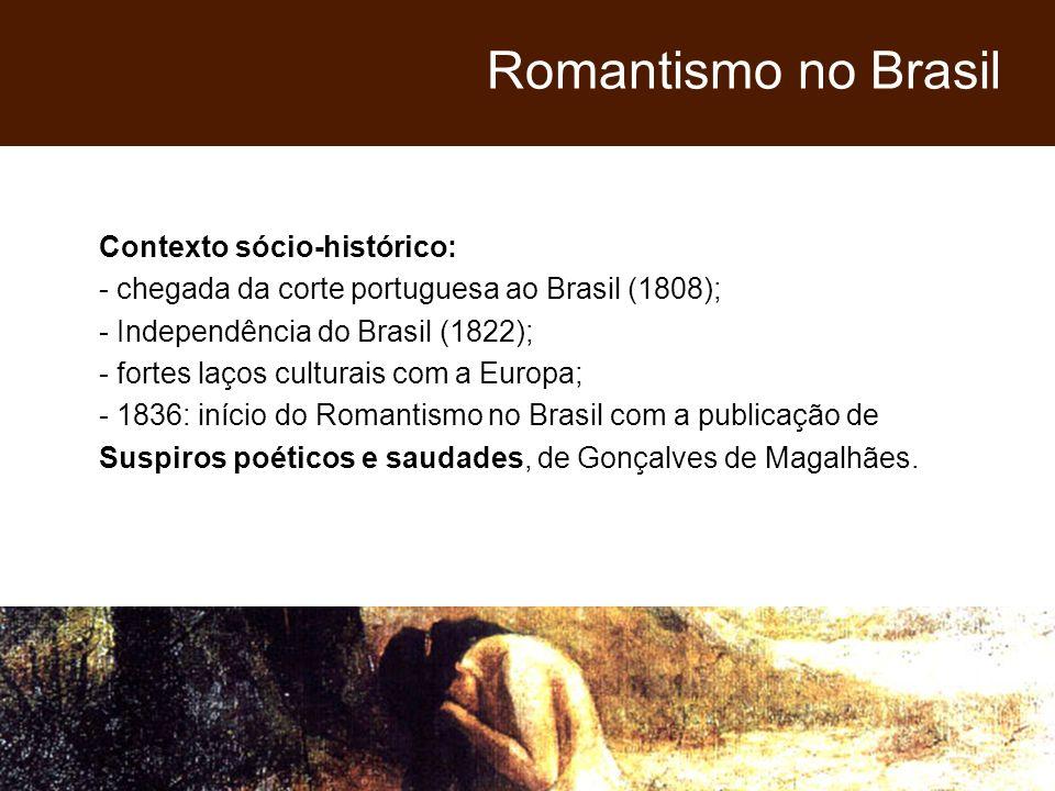 Contexto sócio-histórico: - chegada da corte portuguesa ao Brasil (1808); - Independência do Brasil (1822); - fortes laços culturais com a Europa; - 1