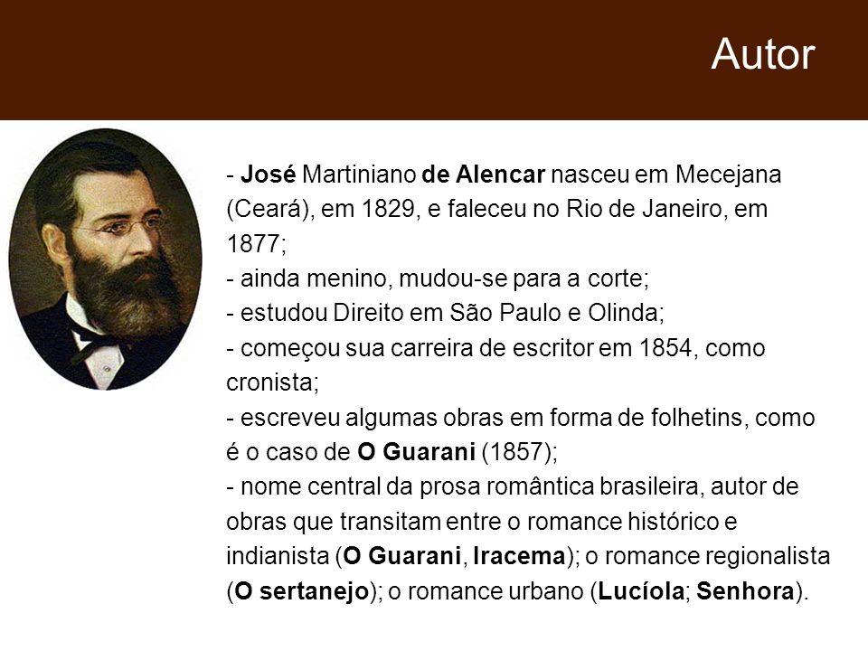 - José Martiniano de Alencar nasceu em Mecejana (Ceará), em 1829, e faleceu no Rio de Janeiro, em 1877; - ainda menino, mudou-se para a corte; - estud