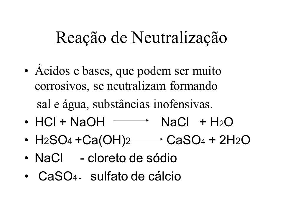 Reação de Neutralização Ácidos e bases, que podem ser muito corrosivos, se neutralizam formando sal e água, substâncias inofensivas.