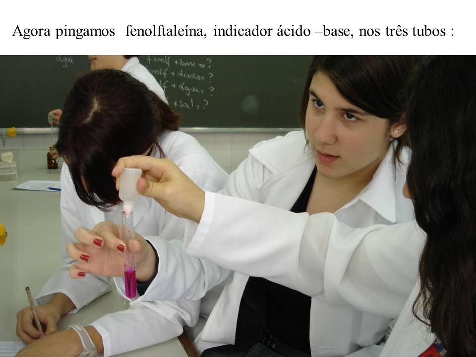 Agora pingamos fenolftaleína, indicador ácido –base, nos três tubos : Tubos de ensaio preparados pela Tubo 1 água e fenolftaleína.