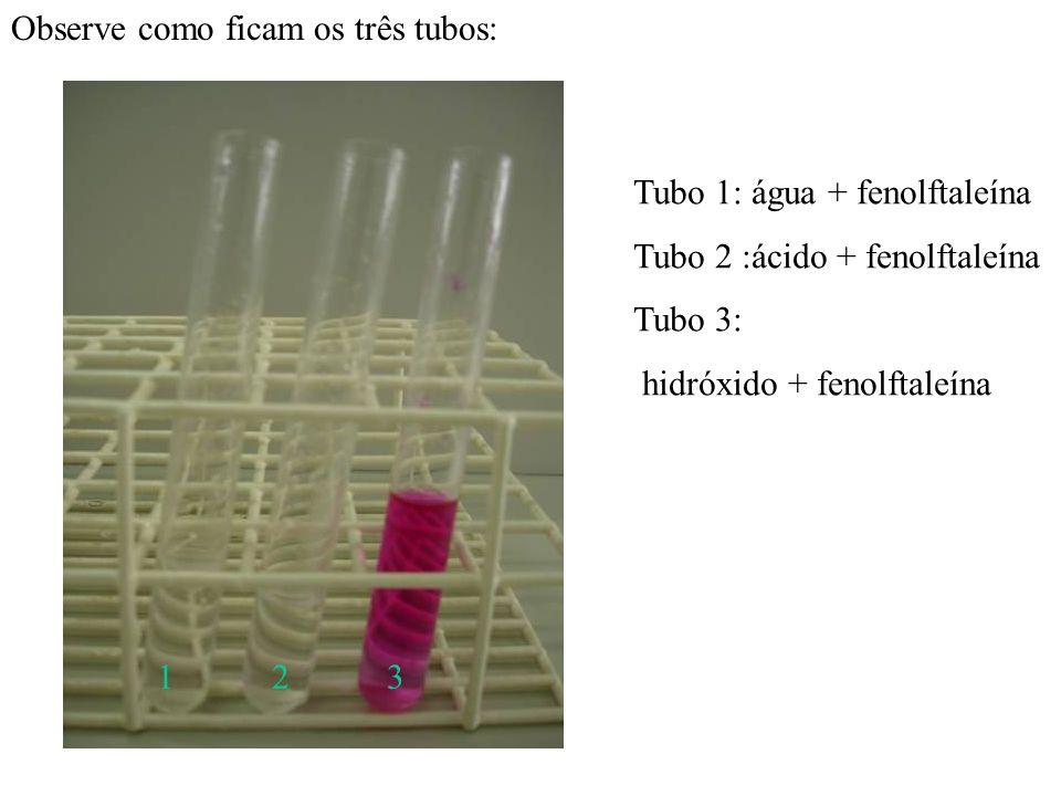 Agora pingamos fenolftaleína, indicador ácido –base, nos três tubos : Tubos de ensaio preparados pela Tubo 1 água e fenolftaleína. Tubo 2 ácido cloríd
