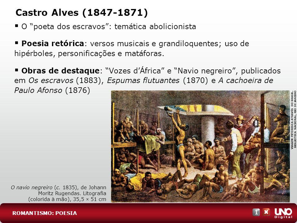 Castro Alves (1847-1871) O poeta dos escravos: temática abolicionista Poesia retórica: versos musicais e grandiloquentes; uso de hipérboles, personifi