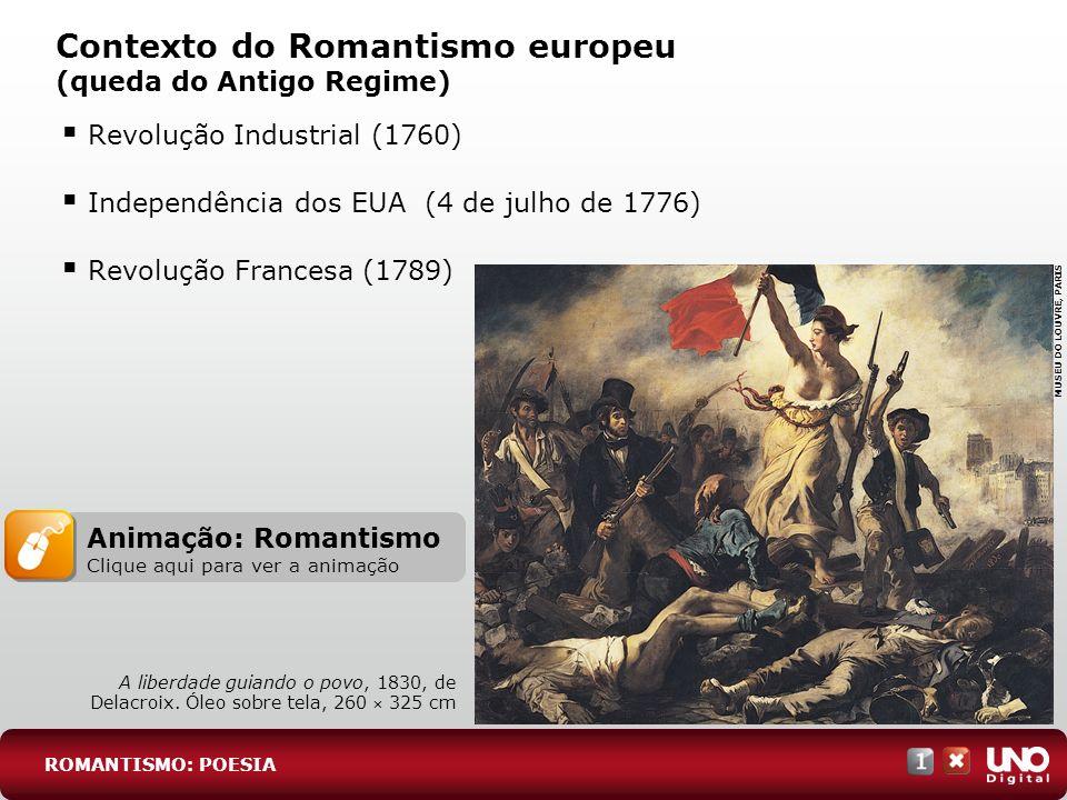 Revolução Industrial (1760) Independência dos EUA (4 de julho de 1776) Revolução Francesa (1789) Contexto do Romantismo europeu (queda do Antigo Regim