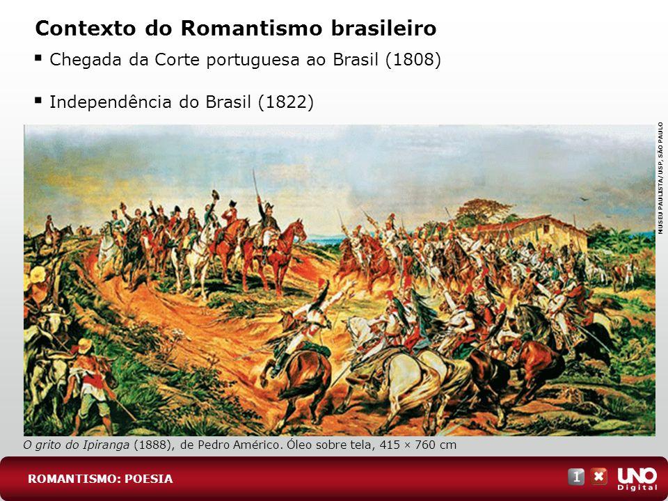 Contexto do Romantismo brasileiro Chegada da Corte portuguesa ao Brasil (1808) Independência do Brasil (1822) ROMANTISMO: POESIA O grito do Ipiranga (