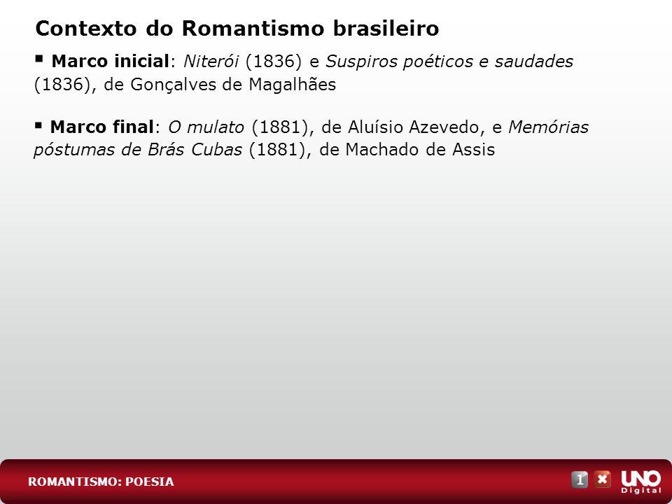 Contexto do Romantismo brasileiro Marco inicial: Niterói (1836) e Suspiros poéticos e saudades (1836), de Gonçalves de Magalhães Marco final: O mulato