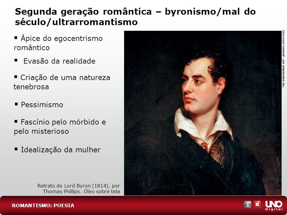 Segunda geração romântica – byronismo/mal do século/ultrarromantismo Ápice do egocentrismo romântico ROMANTISMO: POESIA Retrato de Lord Byron (1814),
