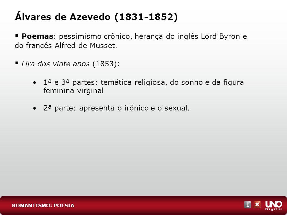 Álvares de Azevedo (1831-1852) Poemas: pessimismo crônico, herança do inglês Lord Byron e do francês Alfred de Musset. Lira dos vinte anos (1853): 1ª