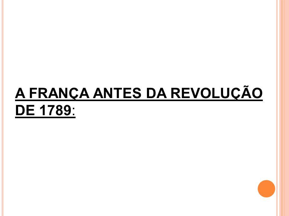 A FRANÇA ANTES DA REVOLUÇÃO DE 1789: