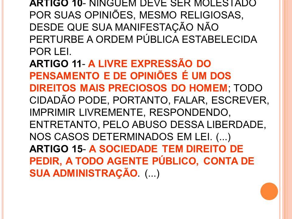 ARTIGO 10- NINGUÉM DEVE SER MOLESTADO POR SUAS OPINIÕES, MESMO RELIGIOSAS, DESDE QUE SUA MANIFESTAÇÃO NÃO PERTURBE A ORDEM PÚBLICA ESTABELECIDA POR LE