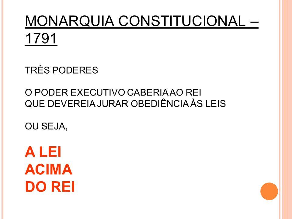 MONARQUIA CONSTITUCIONAL – 1791 TRÊS PODERES O PODER EXECUTIVO CABERIA AO REI QUE DEVEREIA JURAR OBEDIÊNCIA ÀS LEIS OU SEJA, A LEI ACIMA DO REI