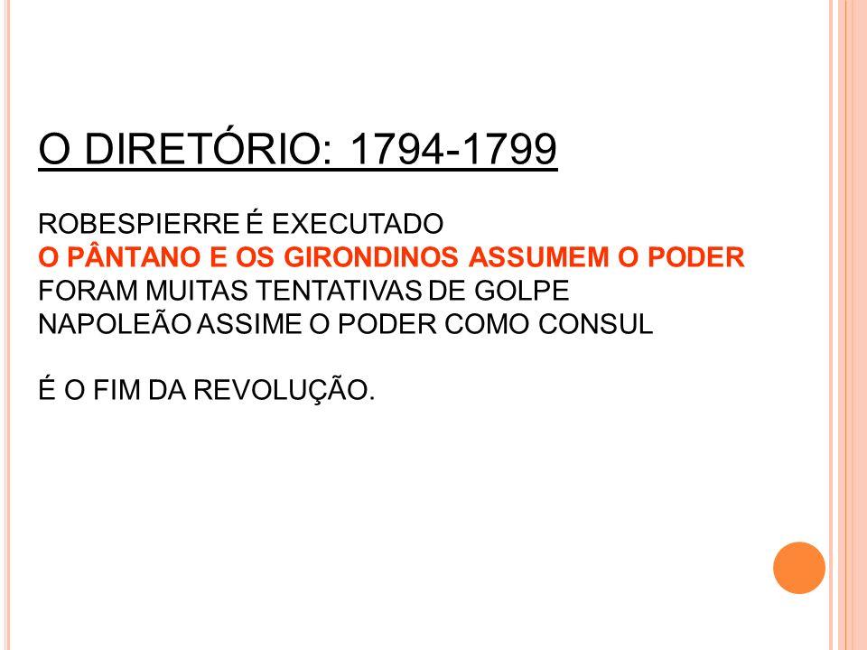 O DIRETÓRIO: 1794-1799 ROBESPIERRE É EXECUTADO O PÂNTANO E OS GIRONDINOS ASSUMEM O PODER FORAM MUITAS TENTATIVAS DE GOLPE NAPOLEÃO ASSIME O PODER COMO