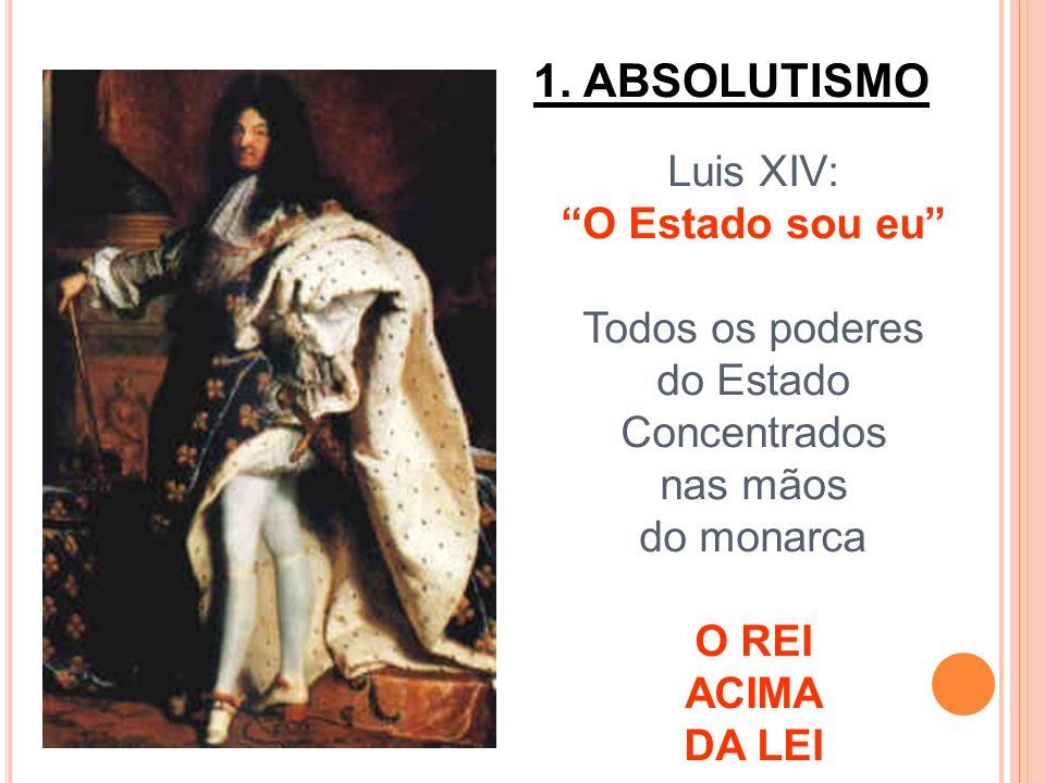 1. ABSOLUTISMO Luis XIV: O Estado sou eu Todos os poderes do Estado Concentrados nas mãos do monarca O REI ACIMA DA LEI