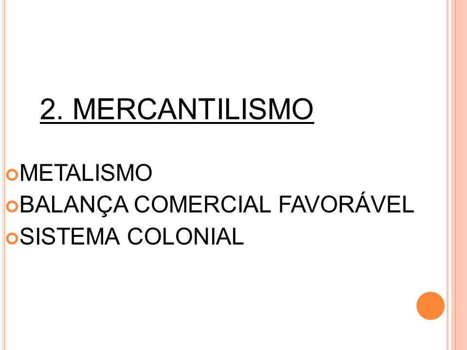 2. MERCANTILISMO METALISMO BALANÇA COMERCIAL FAVORÁVEL SISTEMA COLONIAL