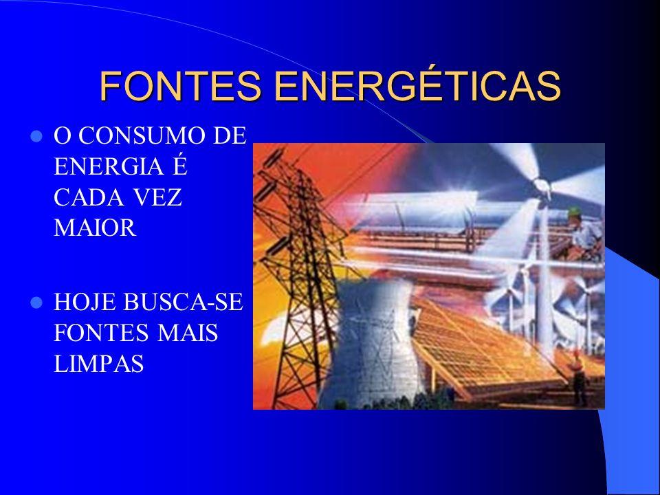 FONTES ENERGÉTICAS O CONSUMO DE ENERGIA É CADA VEZ MAIOR HOJE BUSCA-SE FONTES MAIS LIMPAS