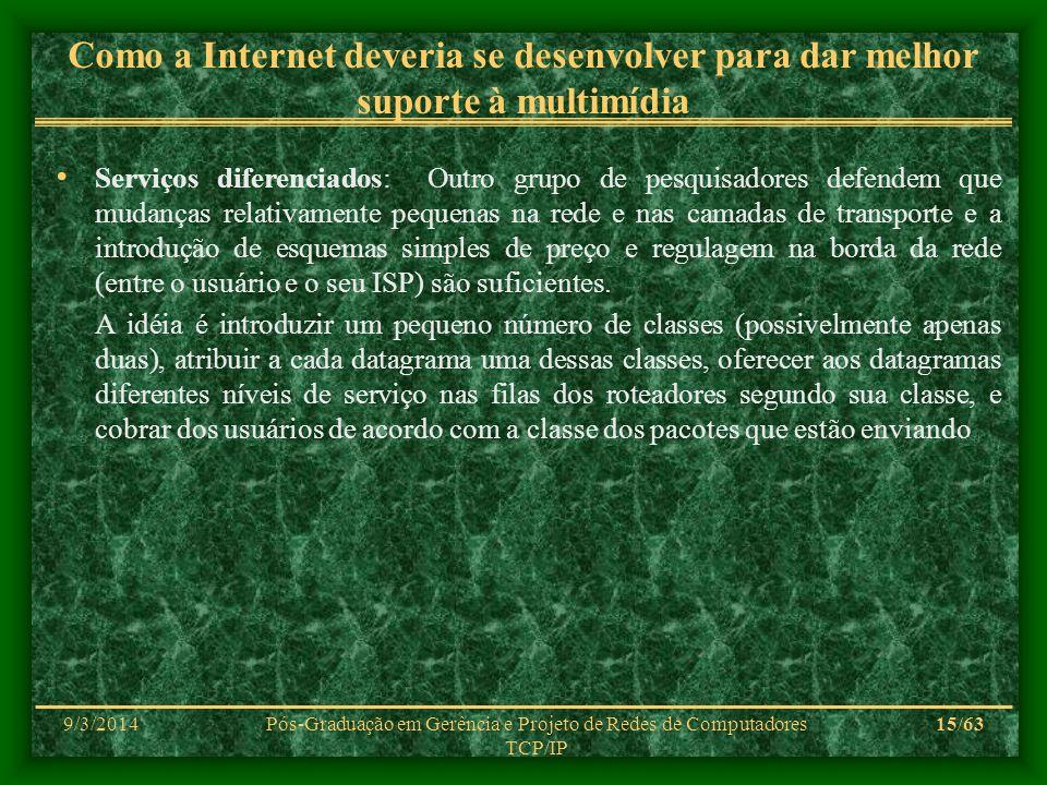 9/3/2014Pós-Graduação em Gerência e Projeto de Redes de Computadores TCP/IP 15/63 Como a Internet deveria se desenvolver para dar melhor suporte à mul