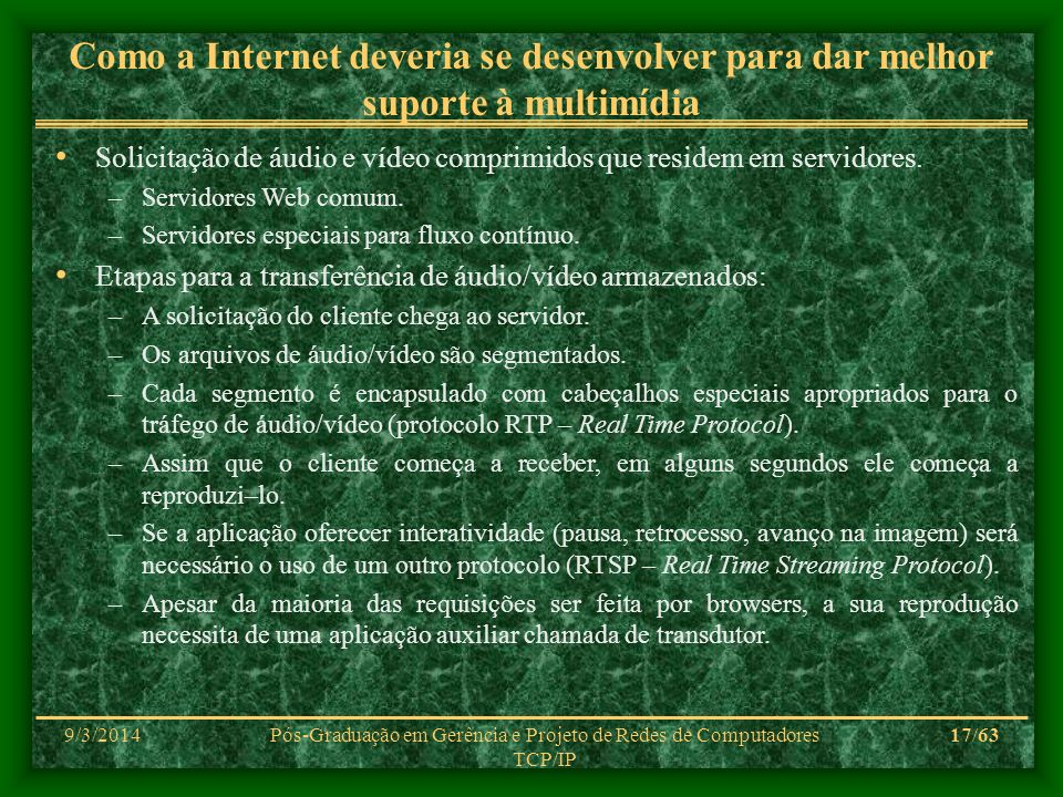9/3/2014Pós-Graduação em Gerência e Projeto de Redes de Computadores TCP/IP 17/63 Como a Internet deveria se desenvolver para dar melhor suporte à mul