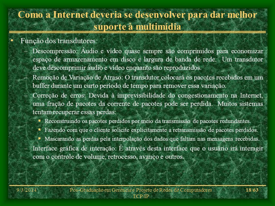 9/3/2014Pós-Graduação em Gerência e Projeto de Redes de Computadores TCP/IP 18/63 Como a Internet deveria se desenvolver para dar melhor suporte à mul