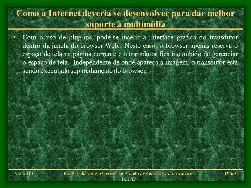 9/3/2014Pós-Graduação em Gerência e Projeto de Redes de Computadores TCP/IP 19/63 Como a Internet deveria se desenvolver para dar melhor suporte à mul
