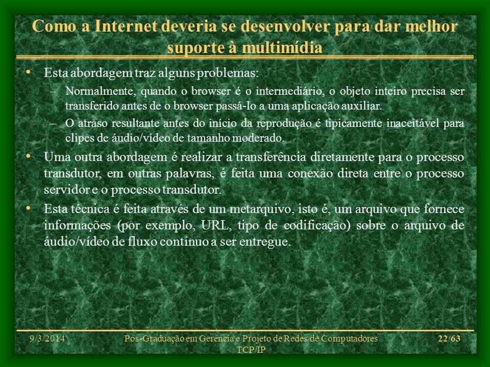 9/3/2014Pós-Graduação em Gerência e Projeto de Redes de Computadores TCP/IP 22/63 Como a Internet deveria se desenvolver para dar melhor suporte à mul