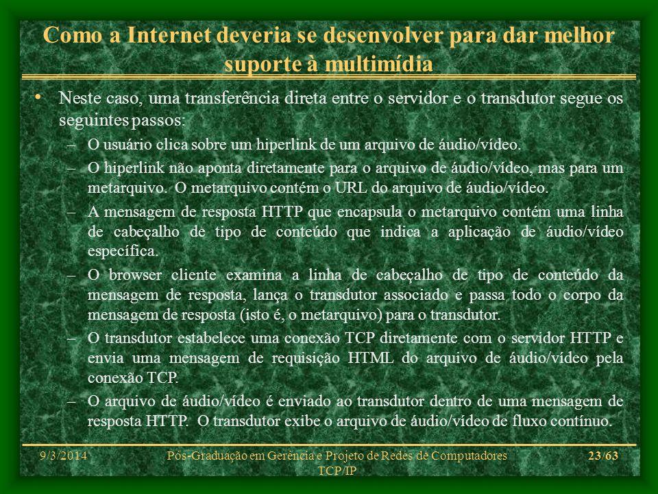 9/3/2014Pós-Graduação em Gerência e Projeto de Redes de Computadores TCP/IP 23/63 Como a Internet deveria se desenvolver para dar melhor suporte à mul