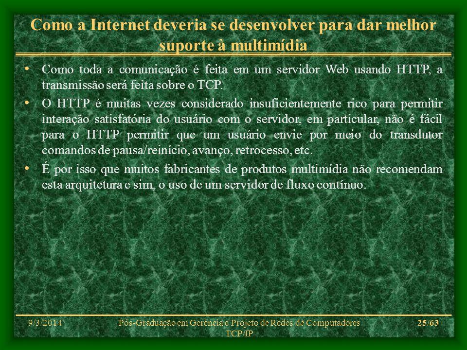 9/3/2014Pós-Graduação em Gerência e Projeto de Redes de Computadores TCP/IP 25/63 Como a Internet deveria se desenvolver para dar melhor suporte à mul