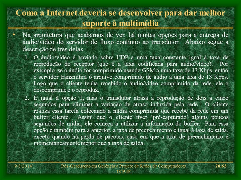 9/3/2014Pós-Graduação em Gerência e Projeto de Redes de Computadores TCP/IP 28/63 Como a Internet deveria se desenvolver para dar melhor suporte à mul