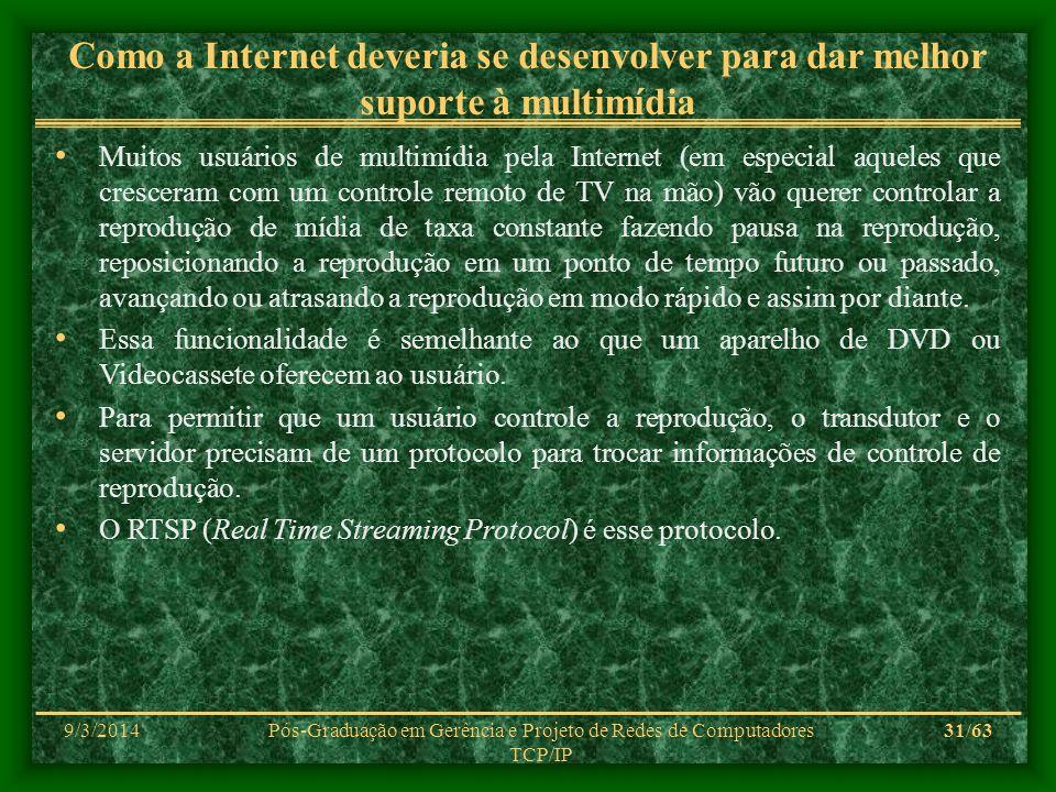 9/3/2014Pós-Graduação em Gerência e Projeto de Redes de Computadores TCP/IP 31/63 Como a Internet deveria se desenvolver para dar melhor suporte à mul