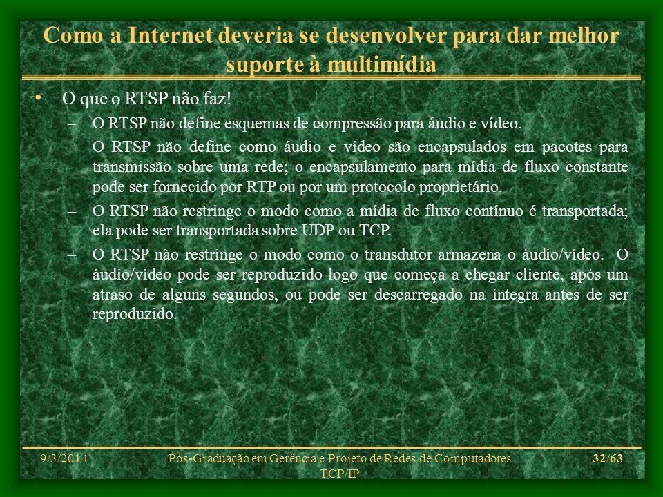 9/3/2014Pós-Graduação em Gerência e Projeto de Redes de Computadores TCP/IP 32/63 Como a Internet deveria se desenvolver para dar melhor suporte à mul