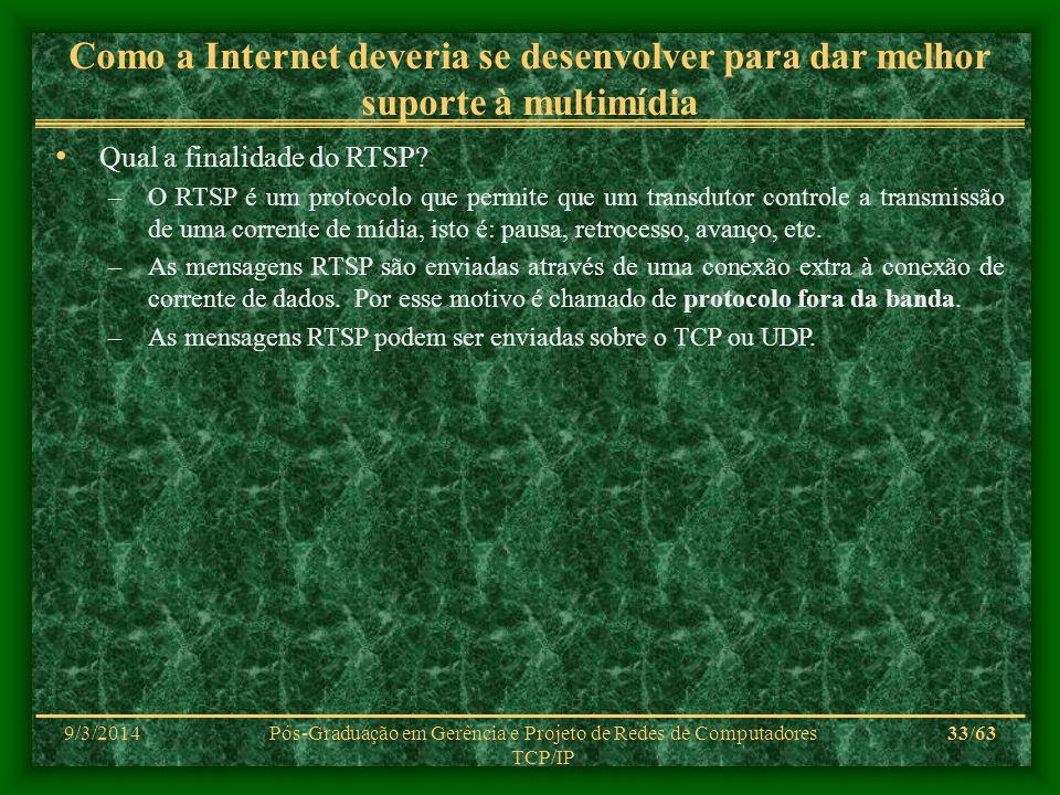 9/3/2014Pós-Graduação em Gerência e Projeto de Redes de Computadores TCP/IP 33/63 Como a Internet deveria se desenvolver para dar melhor suporte à mul