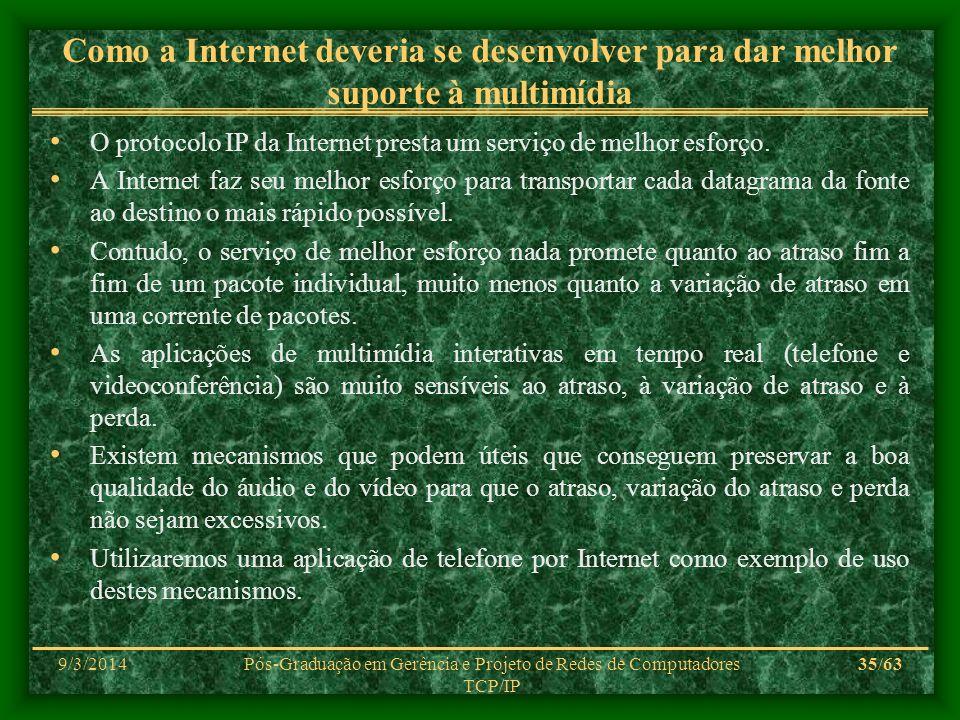 9/3/2014Pós-Graduação em Gerência e Projeto de Redes de Computadores TCP/IP 35/63 Como a Internet deveria se desenvolver para dar melhor suporte à mul