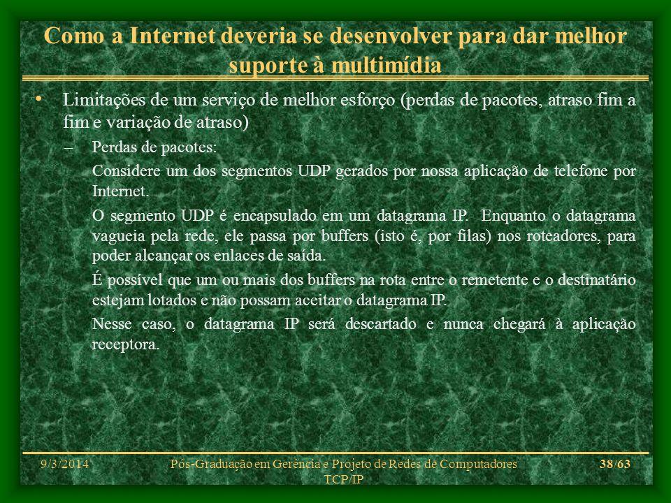 9/3/2014Pós-Graduação em Gerência e Projeto de Redes de Computadores TCP/IP 38/63 Como a Internet deveria se desenvolver para dar melhor suporte à mul