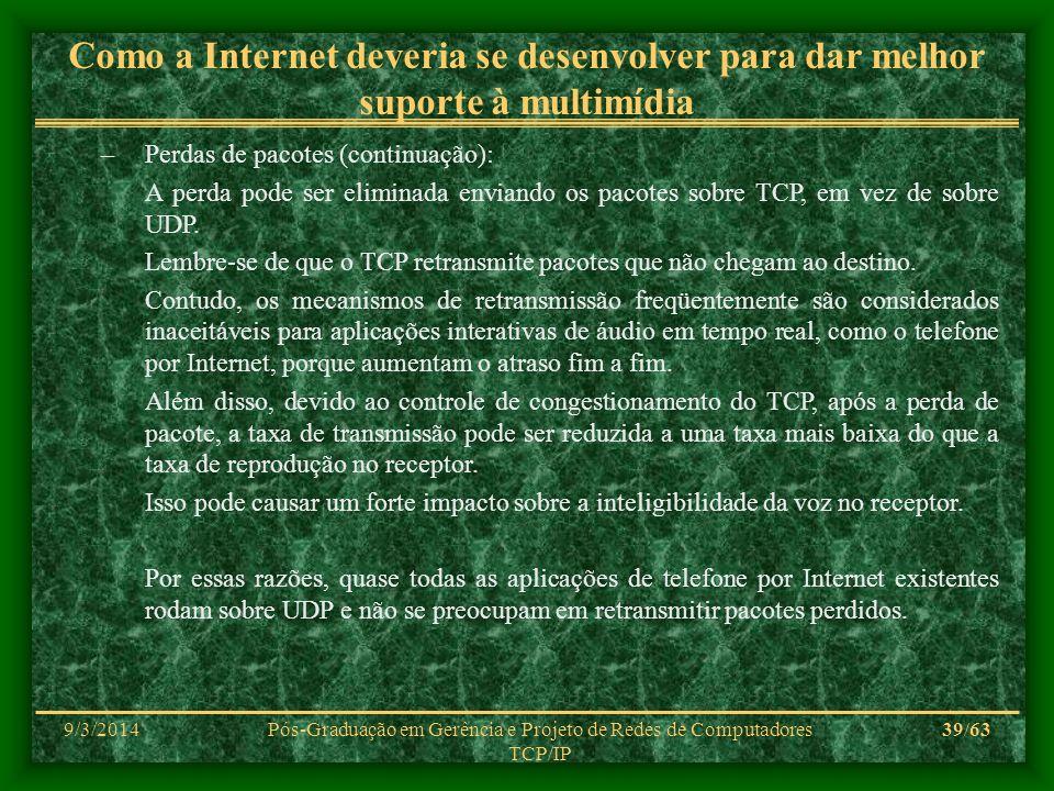 9/3/2014Pós-Graduação em Gerência e Projeto de Redes de Computadores TCP/IP 39/63 Como a Internet deveria se desenvolver para dar melhor suporte à mul