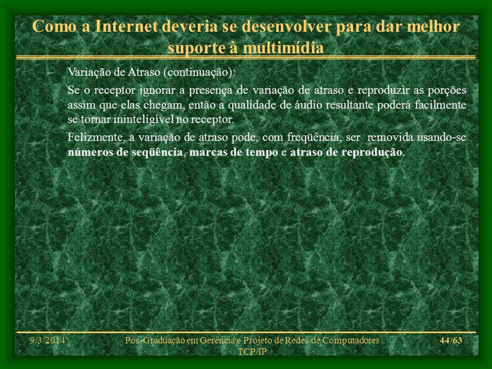 9/3/2014Pós-Graduação em Gerência e Projeto de Redes de Computadores TCP/IP 44/63 Como a Internet deveria se desenvolver para dar melhor suporte à mul