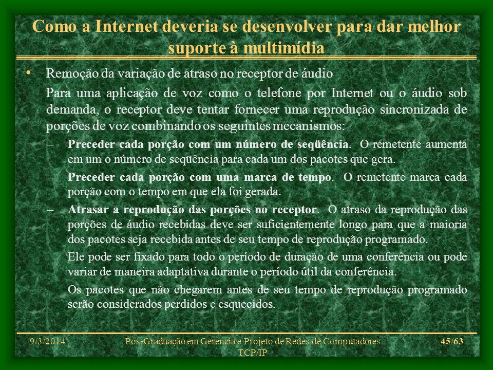 9/3/2014Pós-Graduação em Gerência e Projeto de Redes de Computadores TCP/IP 45/63 Como a Internet deveria se desenvolver para dar melhor suporte à mul