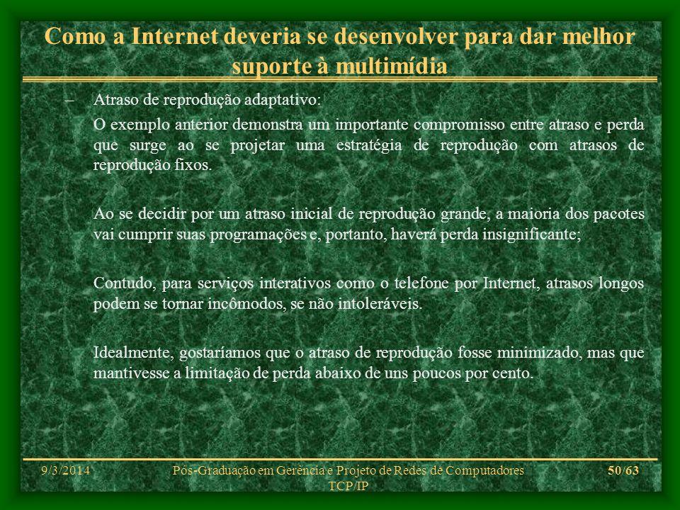 9/3/2014Pós-Graduação em Gerência e Projeto de Redes de Computadores TCP/IP 50/63 Como a Internet deveria se desenvolver para dar melhor suporte à mul