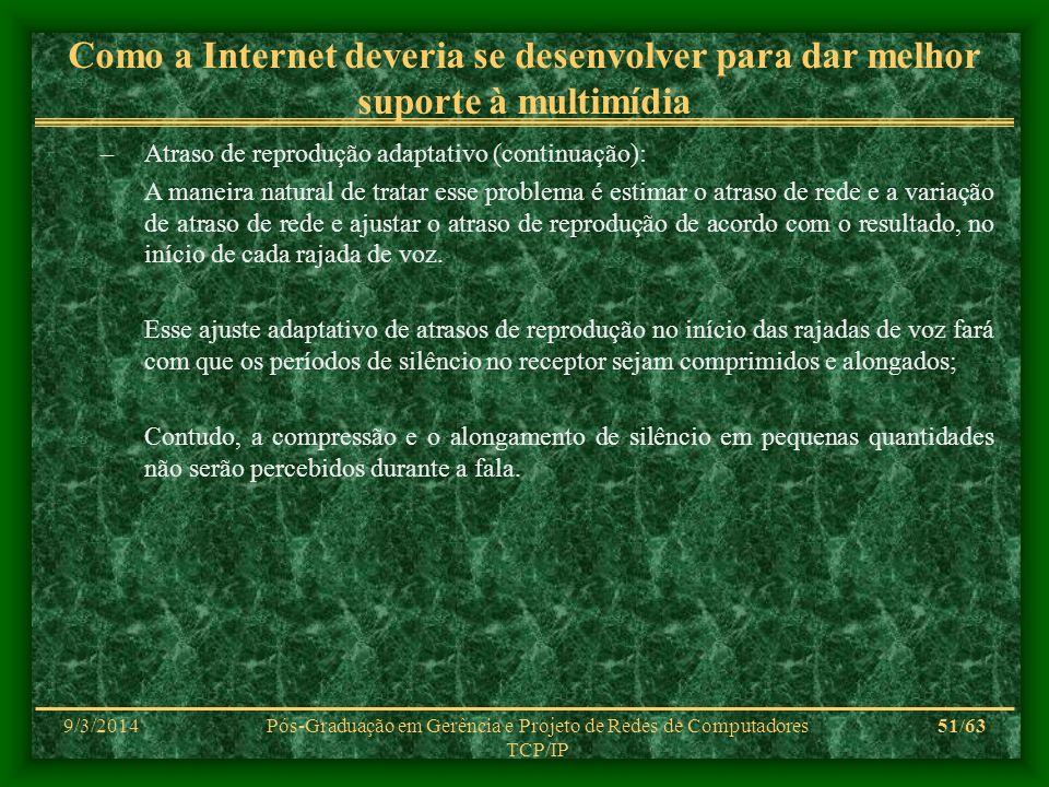 9/3/2014Pós-Graduação em Gerência e Projeto de Redes de Computadores TCP/IP 51/63 Como a Internet deveria se desenvolver para dar melhor suporte à mul