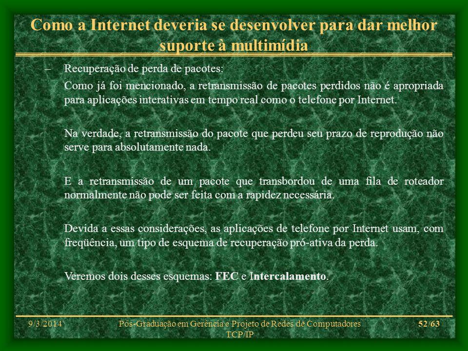 9/3/2014Pós-Graduação em Gerência e Projeto de Redes de Computadores TCP/IP 52/63 Como a Internet deveria se desenvolver para dar melhor suporte à mul