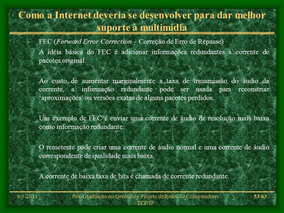 9/3/2014Pós-Graduação em Gerência e Projeto de Redes de Computadores TCP/IP 53/63 Como a Internet deveria se desenvolver para dar melhor suporte à mul