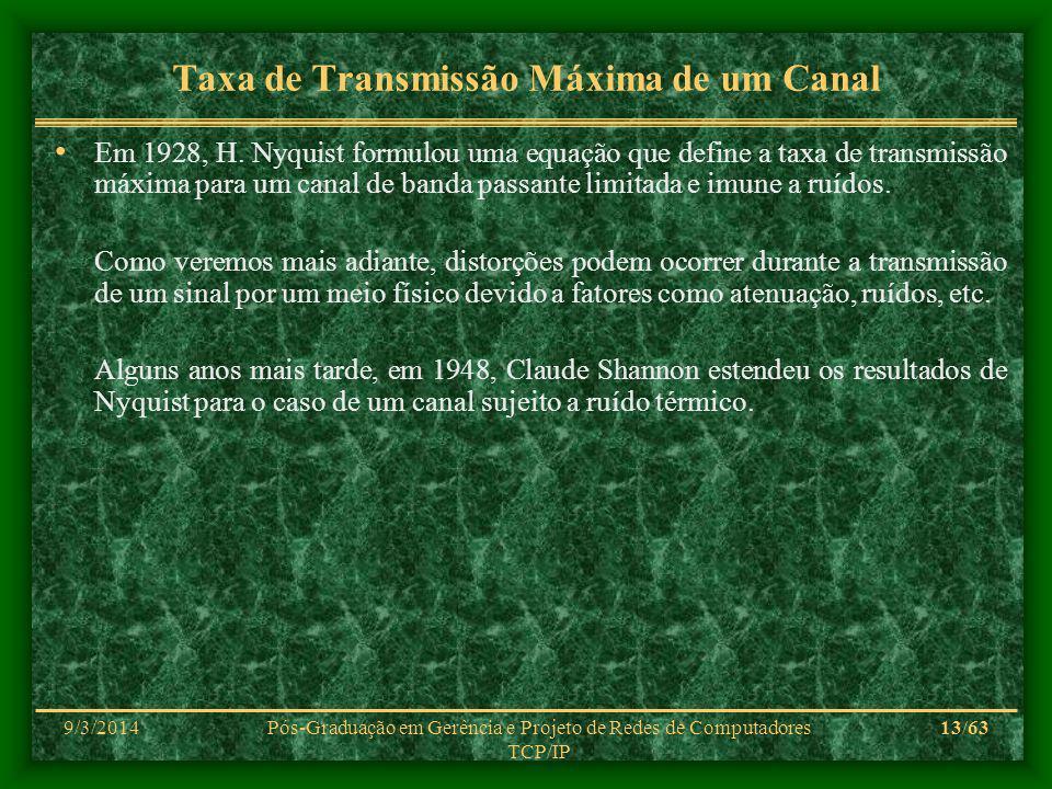 9/3/2014Pós-Graduação em Gerência e Projeto de Redes de Computadores TCP/IP 13/63 Taxa de Transmissão Máxima de um Canal Em 1928, H. Nyquist formulou
