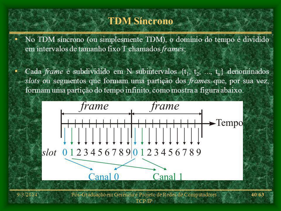 9/3/2014Pós-Graduação em Gerência e Projeto de Redes de Computadores TCP/IP 40/63 TDM Síncrono No TDM síncrono (ou simplesmente TDM), o domínio do tempo é dividido em intervalos de tamanho fixo T chamados frames; Cada frame é subdividido em N subintervalos {t 1, t 2,..., t n } denominados slots ou segmentos que formam uma partição dos frames que, por sua vez, formam uma partição do tempo infinito, como mostra a figura abaixo.