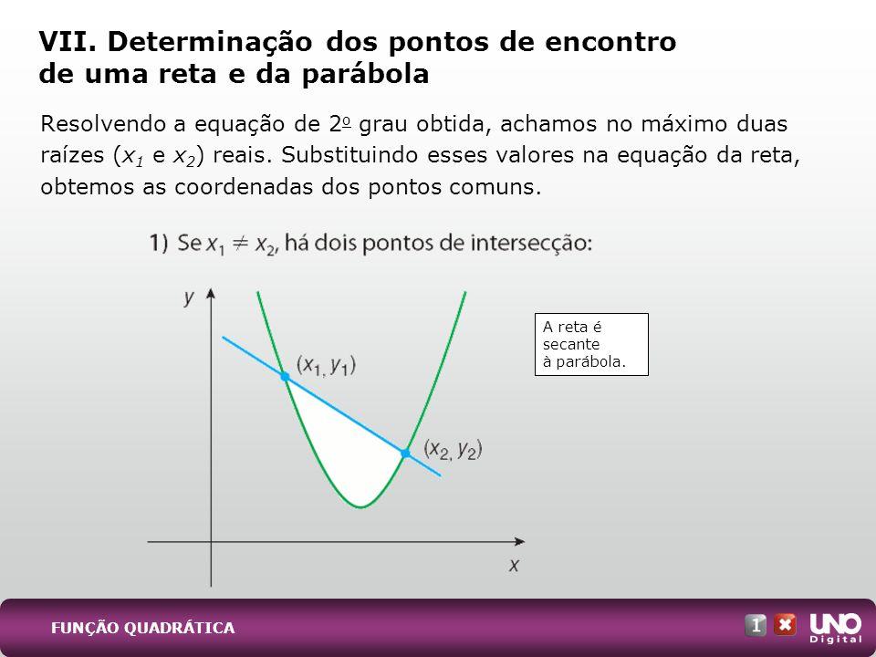 VII. Determinação dos pontos de encontro de uma reta e da parábola Resolvendo a equação de 2 o grau obtida, achamos no máximo duas raízes (x 1 e x 2 )