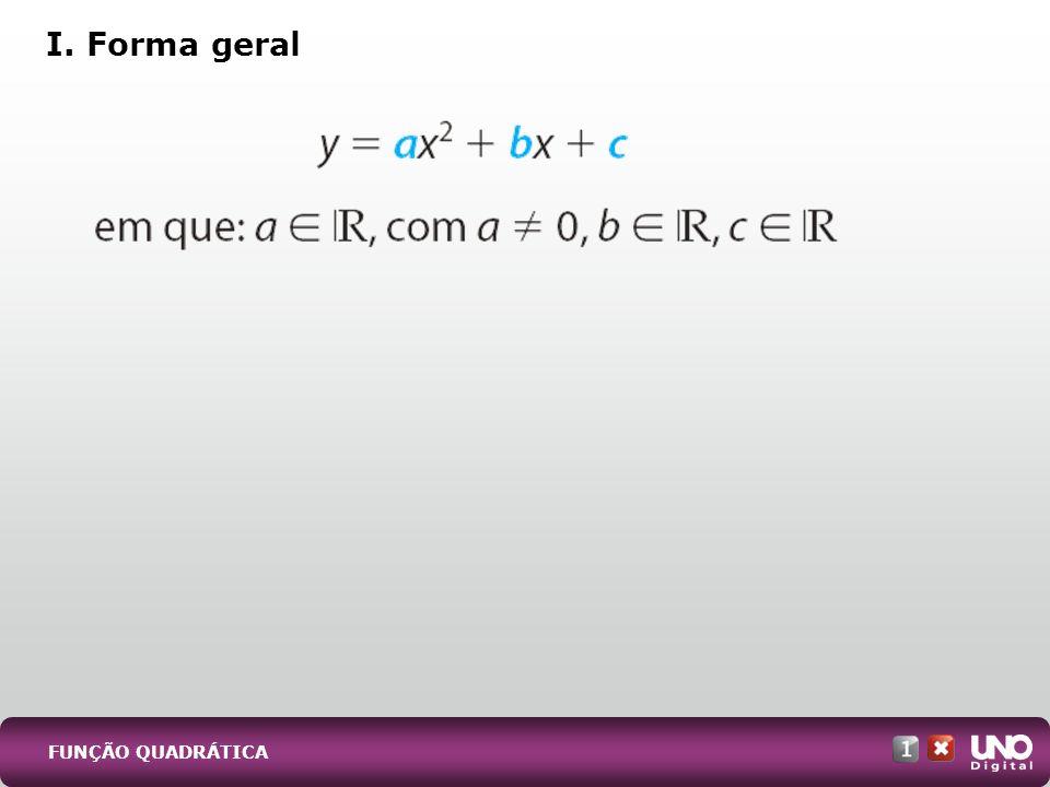 1) Canônica: y = a (x - x V ) 2 + y V, sendo x V e y V as coordenadas do vértice.