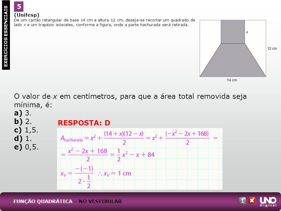 (Unifesp) De um cartão retangular de base 14 cm e altura 12 cm, deseja-se recortar um quadrado de lado x e um trapézio isósceles, conforme a figura, o