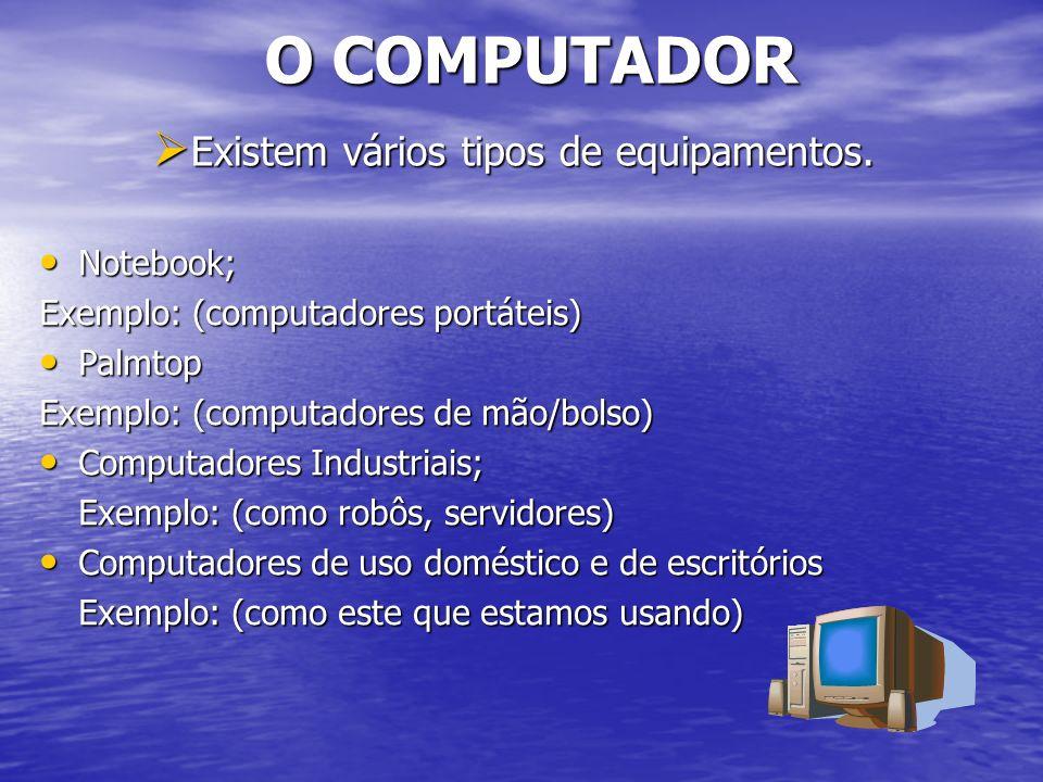 Computador Componentes: Monitor Monitor (tela de visualização) (tela de visualização) Teclado Teclado (esta a sua frente, serve para digitar textos e entrada de dados) Mouse Mouse (ao lado do teclado para facilitar a utilização do equipamento, instrumento utilizado para clicar na opção desejada) CPU CPU (cérebro do computador, onde fica armazenado os arquivos, dados, programas e documentos) Estabilizador de energia Estabilizador de energia (equipamento que protege o computador ) Impressora Impressora (Imprimir documentos) Caixas de Som Caixas de Som Outros Recursos Outros Recursos (existem equipamentos que possuem recursos como Web Cam, microfone, scanner, etc.)