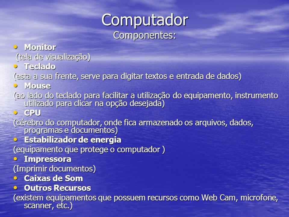 INTERNET Rede mundial que liga o usuário as informações do mundo inteiro.