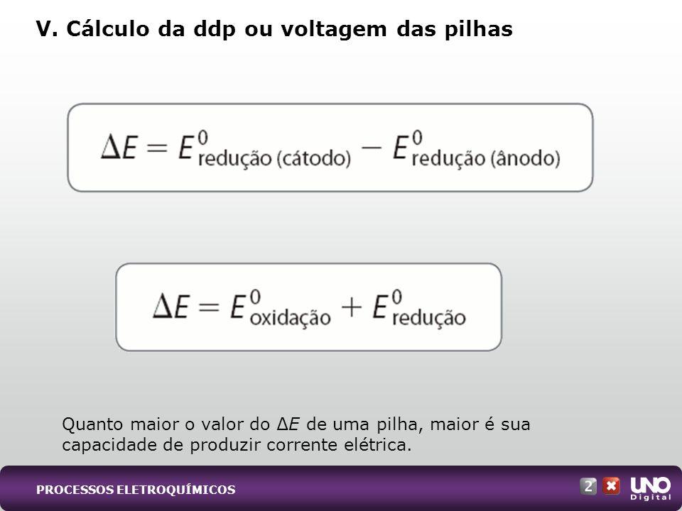 V. Cálculo da ddp ou voltagem das pilhas Quanto maior o valor do E de uma pilha, maior é sua capacidade de produzir corrente elétrica. PROCESSOS ELETR